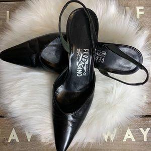 salvatore ferragamo Black Italian Leather heels